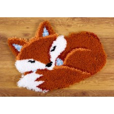 Latch hook shaped rug kit Sleeping fox
