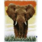 Latch hook rug kit Elephant in the savanna II