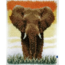 Latch hook rug kit Elephant in the savanna II
