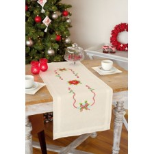 (OP=OP) Table runner kit Poinsettia and ribbons