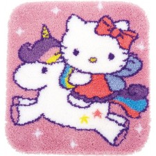 Latch hook shaped rug kit Hello Kitty and unicorn