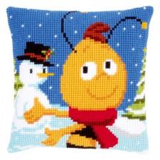 Cross stitch cushion kit MDB Willy in the snow