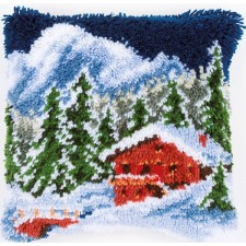 Latch hook cushion kit Winter mountains