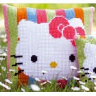 "Cross stitch cushion kit Hello Kitty ""Striped"""