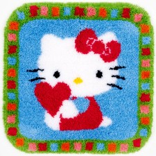 Latch hook shaped rug kit Hello Kitty with a heart