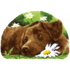 Latch hook shaped rug kit Chocolate labrador