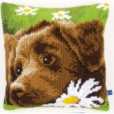 Cross stitch cushion kit Chocolate labrador
