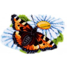 Latch hook shaped rug kit Butterfly on daisy