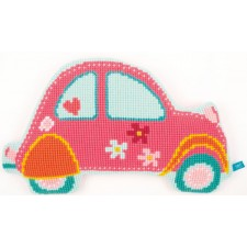 Cross stitch shaped cushion kit Pink car