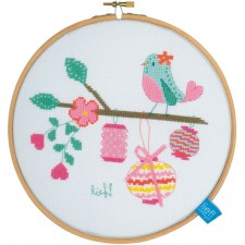 (OP=OP) Counted Cross Stitch K Bird with lanterns aida