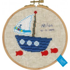 (OP=OP) Counted cross stitch kit Boat with fishes