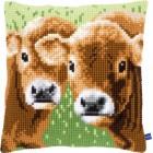 Cross stitch cushion kit Two calves