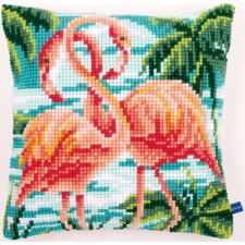 Cross stitch cushion kit Flamingos