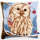 Cross stitch cushion kit Winter owl