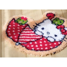 Latch hook shaped rug kit Hello Kitty in umbrella
