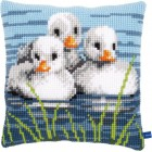 Cross stitch cushion kit Ducklings in the water
