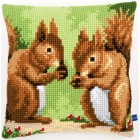 Cross stitch cushion kit Nibbling squirrels