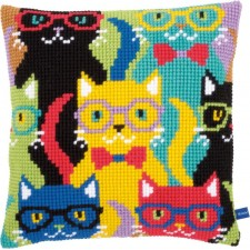 Cross stitch cushion kit Funny cats