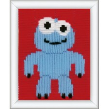 Long stitch kit Little blue monster