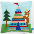(OP=OP) Cross stitch cushion kit Bear and teepee