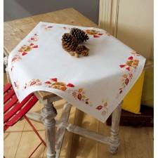 Aida tablecloth kit Hedgehog and mushrooms