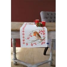Kerst tafelloper Roodborstje met rode besjes