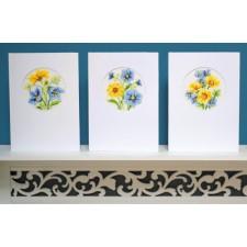 Wenskaart Gele en blauwe bloempjes set van 3