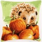 Cross stitch cushion kit Hedgehog with apples