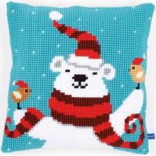 Cross stitch cushion kit Happy christmas bear