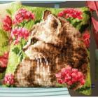 Cross stitch cushion kit Cat in field of flowers