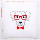 Embroidery cushion kit Dog with red glasses