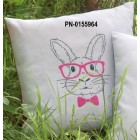 (OP=OP) Embroidery cushion kit Rabbit with pink glasses