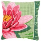 Cross stitch cushion kit Pink lotus flower