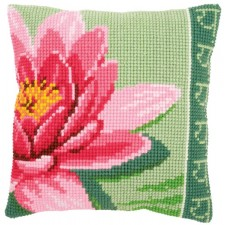 Cross stitch cushion kit Pink lotus flower