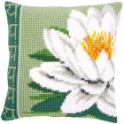 Cross stitch cushion kit White lotus flower