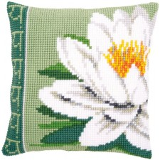 Cross stitch cushion kit White lotus flower