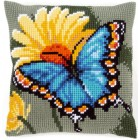 Cross stitch cushion kit Butterfly & yellow flower