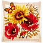 Cross stitch cushion kit Poppies and sunflowers