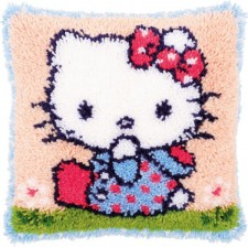 Latch hook cushion kit Hello Kitty on the grass