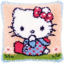 Knoopkussen kit Hello Kitty op het gras