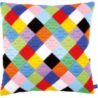 Long stitch cushion kit Colourful diamonds