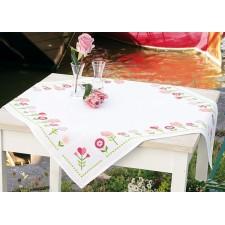 (OP=OP) Aida tablecloth kit Pink flowers