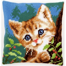 Cross stitch cushion kit Cat on a tree