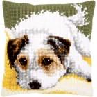 Cross stitch cushion kit Dog wagging its tail