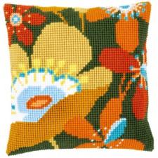 Cross stitch cushion kit Retro flowers