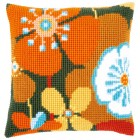 Cross stitch cushion kit Retro flowers