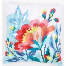 Cross stitch cushion kit Bright flowers