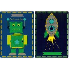 Borduurkaarten Robot en raket set van 2