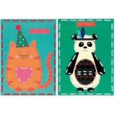 Borduurkaarten Poes en panda set van 2