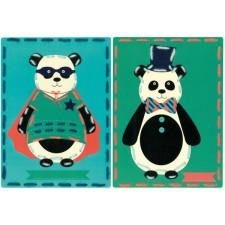 Borduurkaarten Circus panda's set van 2